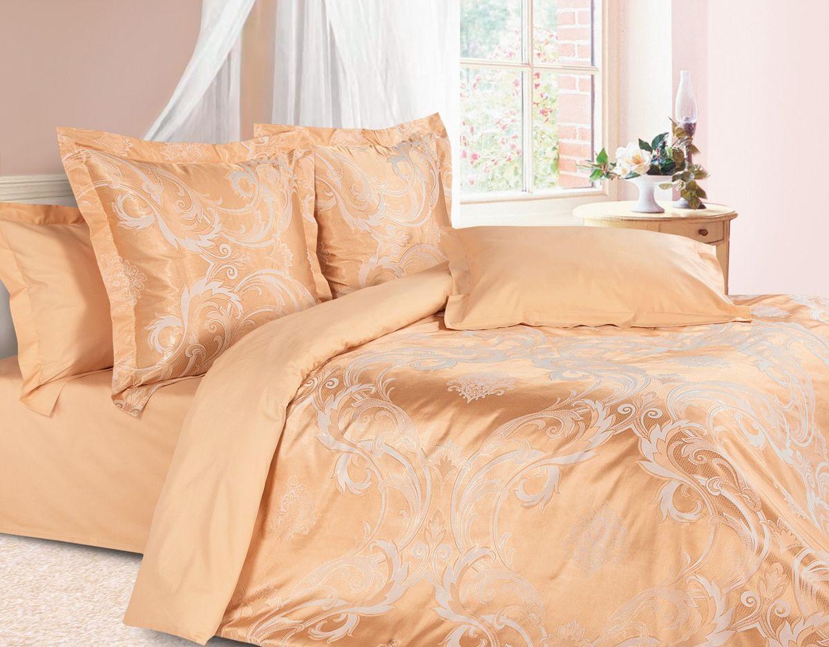Комплект постельного белья Ecotex Эстетика Николетта, цвет: оранжевый. Семейный10503Изысканная коллекция Estetica из жаккардового сатина — это утонченное удовольствие, рожденное неповторимым сочетанием перламутрового блеска и матовой сдержанности.