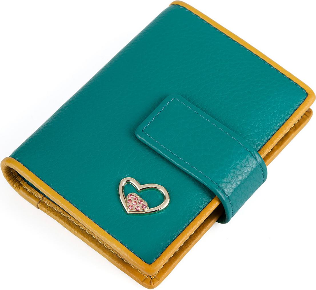 Визитница женская Labbra, цвет: бирюзовый, желтый. L057-0005INT-06501Визитница торговый марки LABBRA из натуральной кожи. Модель вмещает 24 визитных карточки, имеется потайной кармашек. Закрывается на кнопку.