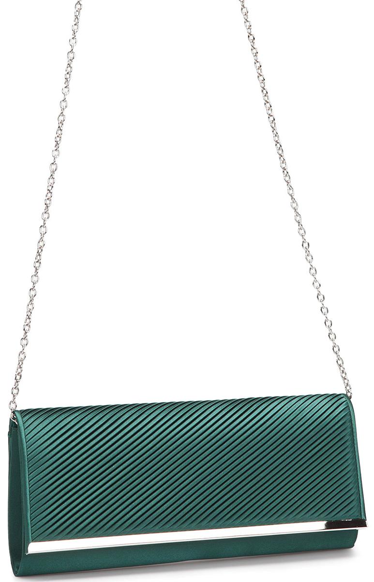 Клатч женский Eleganzza, цвет: темно-зеленый. ZZ-5783RivaCase 8460 blackЖенская сумка-клатч торговой марки ELEGANZZA. Сумка закрывается на магнит. Внутри - одно отделение, в котором есть один открытый карман. Модель имеет наплечный ремень в виде цепочки. Длина наплечного ремня - 115 см.