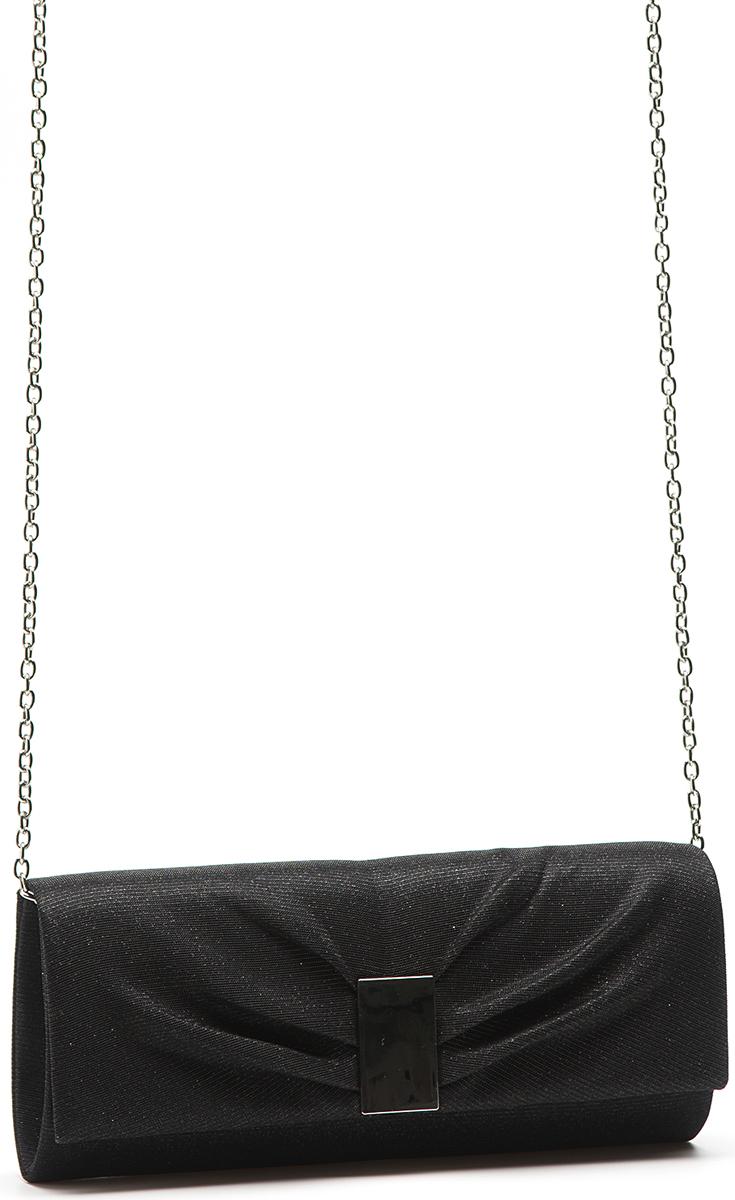 Клатч женский Eleganzza, цвет: черный. ZZ-16626-1BP-001 BKЖенская сумка-клатч торговой марки ELEGANZZA. Сумка закрывается на магнит. Внутри - одно отделение, в котором есть один открытый карман. Модель имеет наплечный ремень в виде цепочки. Длина наплечного ремня - 115 см.