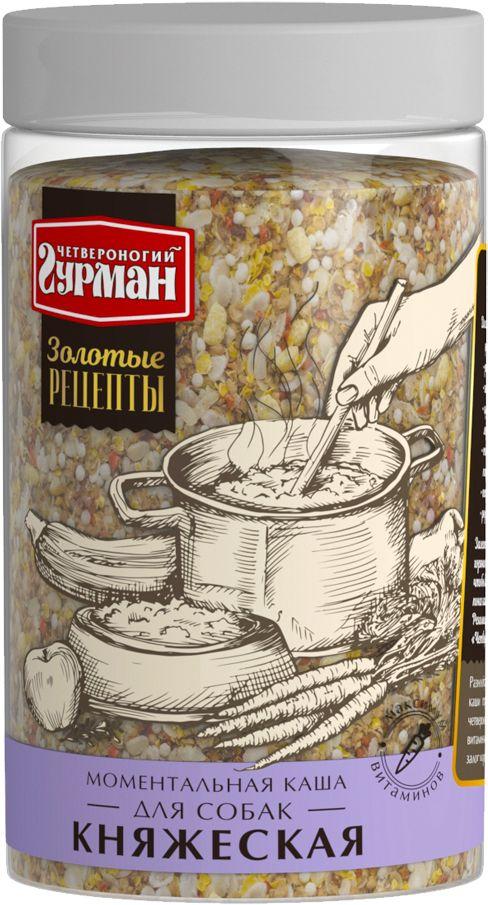 Каша для собак Четвероногий гурман Золотые рецепты. Княжеская, моментальная, 300 г0120710Золотые рецепты - моментальная каша для собак суперпремиум класса. Сложный многокомпонентный состав продукта включает злаки, овощи, фрукты, а также розмарин и морские водоросли. Корм не является полнорационным. Рекомендуется смешивать с мясными консервами.Состав: хлопья гречневые, хлопья рисовые, хлопья пшеничные, хлопья кукурузные, воздушный рис, воздушная кукуруза, сушеная морковь, сушеная тыква, сушеная паприка, сушеные листья петрушки, порошок розмарина, измельченные морские водоросли.