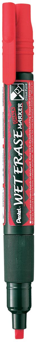 Pentel Маркер меловой Wet Erase Marke двусторонний цвет красный72523WDМеловые маркеры на водной основе WET ERASE MARKERБезопасные, не содержащие кислот чернила маркера идеально ложатся на сухие гладкие поверхности, такие как стекло, метал, зеркало, пластик. Легко стираются влажной тканью. Надписи НЕ ТЕКУТ при попадании на них влаги (например, на стеклах или ресторанных досках-меню). Идеально подходят для декорирования стекла в машине или дома. Каждый маркер имеет двухсторонний фибровый наконечник: пулеобразный/скошенный.Перед использованием вставьте наконечник нужной стороной. Наконечник легко меняется с помощью клипа-пинцета на колпачке или рукой. Внимание! Эти маркеры НЕ ПОДХОДЯТ для меловых черных школьных досок и для любых пористых поверхностей!