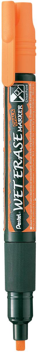 Pentel Маркер меловой Wet Erase Marke двусторонний цвет оранжевый72523WDМеловые маркеры на водной основе WET ERASE MARKERБезопасные, не содержащие кислот чернила маркера идеально ложатся на сухие гладкие поверхности, такие как стекло, метал, зеркало, пластик. Легко стираются влажной тканью. Надписи НЕ ТЕКУТ при попадании на них влаги (например, на стеклах или ресторанных досках-меню). Идеально подходят для декорирования стекла в машине или дома. Каждый маркер имеет двухсторонний фибровый наконечник: пулеобразный/скошенный.Перед использованием вставьте наконечник нужной стороной. Наконечник легко меняется с помощью клипа-пинцета на колпачке или рукой. Внимание! Эти маркеры НЕ ПОДХОДЯТ для меловых черных школьных досок и для любых пористых поверхностей!