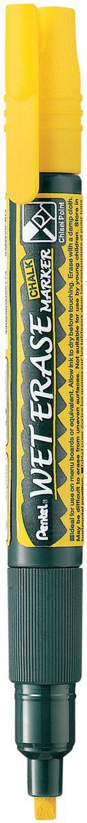 Pentel Маркер меловой Wet Erase двусторонний цвет желтыйFS-36054Меловой маркер на водной основе Pentel Wet Erase.Безопасные, не содержащие кислот чернила маркера идеально ложатся на сухие гладкие поверхности, такие как стекло, металл, зеркало, пластик. Легко стираются влажной тканью. Надписи не текут при попадании на них влаги, идеально подходят для декорирования стекла в машине или дома. Маркер имеет двусторонний фибровый наконечник (пулеобразный/скошенный).Перед использованием вставьте наконечник нужной стороной. Наконечник легко меняется с помощью клипа-пинцета на колпачке или рукой.Маркер не подходит для меловых черных школьных досок и для любых пористых поверхностей!
