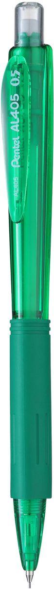 Pentel Карандаш механический цвет корпуса зеленыйPP-304Комфортный и надежный карандаш Pentel с трехгранной мягкой зоной захвата.Карандаш имеет прочный корпус из матового пластика зеленого цвета и металлическую убирающуюся цангу.Под колпачком карандаша находится ластик.