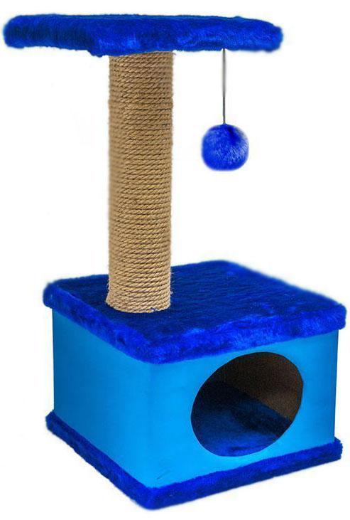 Домик-когтеточка квадратный Дарэлл Конфетти, цвет: синий, 40 х 37 х 70 см0120710Домик-когтеточка квадратной формы с квадратной полкой, на которую подвешен помпон в цвет домика. Изготовлен из ДСП и фанеры, обработанные искусственным мехом и экокожей. Столбик-когтеточка обработан джутом. Благодаря простоте формы и цветовым оттенкам домик легко впишется в любой интерьер. Для удобства в перевозке, домик легко собирается и разбирается. В комплект входят инструкция и ключ для сборки.