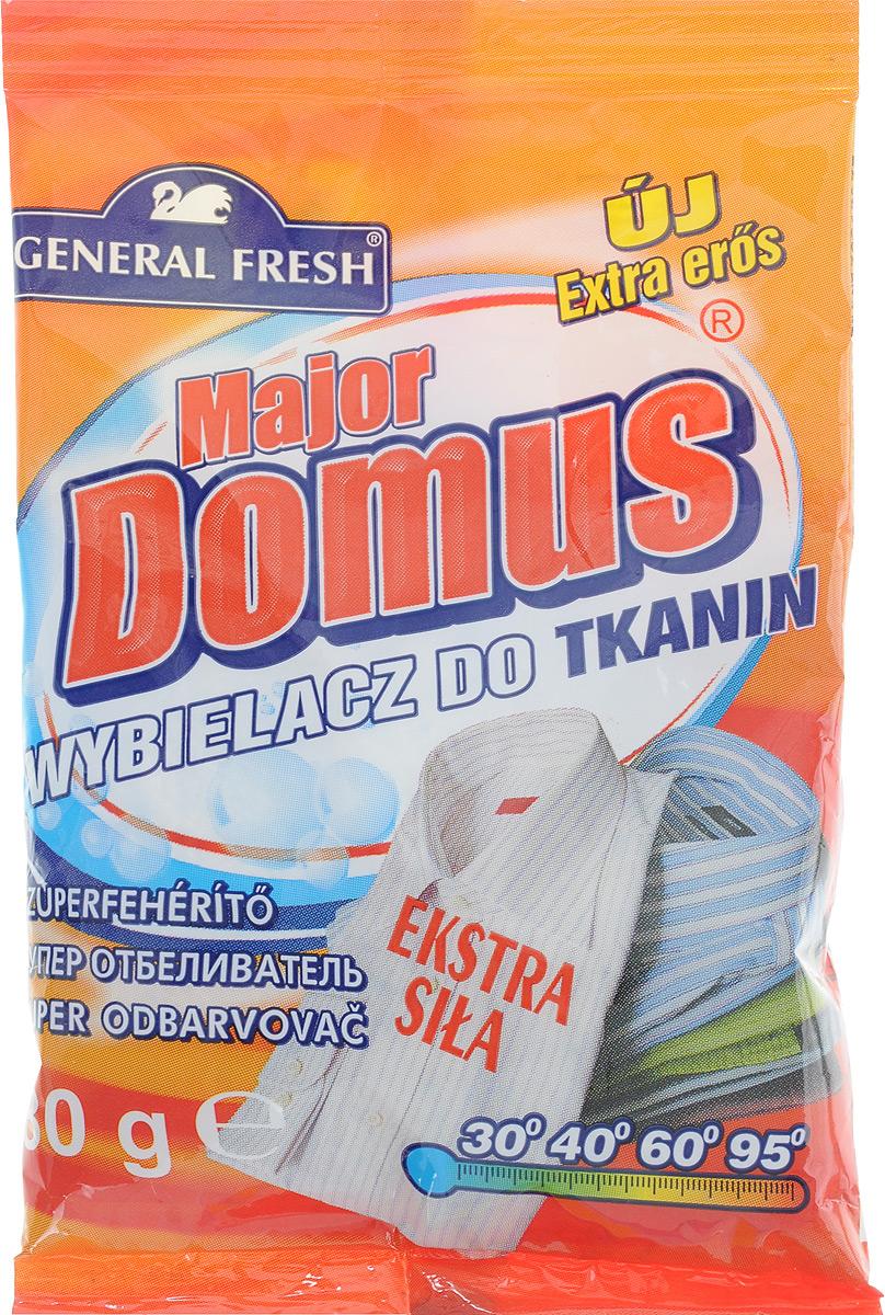 Суперотбеливатель General Fresh Major Domus, для тканей, оптический, 80 г80653Суперотбеливатель General Fresh Major Domus - это активная формула нового поколения, которая возвращает снежную белизну пожелтевшим и серым тканям. Отбеливатель позволяет также удалить стойкие и засохшие пятна. Грязную одежду, скатерть, постельное белье,прежде чем поместить в стиральную машину, нужно замочить в воде с добавлением отбеливателя для тканей. Для того, чтобы освежить белое отбеливатель можно добавлять в стиральный порошок. Отбеливатель для тканей General Fresh Major Domus не содержит хлора.Товар сертифицирован.