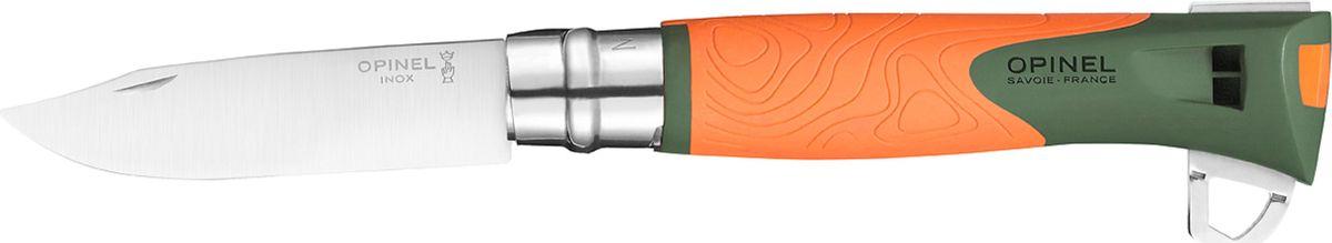 """Нож Opinel Specialists EXPLORE №12, клинок 10 см, цвет: оранжевый, серыйa026124Нож Opinel серии Specialists EXPLORE №12 клинок 10см., нерж.сталь, пластик, свисток, огниво, стропорез, оранжевый/серыйНовинка от компании Opinel. Нож Opinel №12 Explore серии Specialist позиционируется как универсальная модель для туризма, альпинизма, охоты и рыбалки. Нож с удобным и функциональным клинком, прочной рукояткой и дополнительными функциями.Главные отличие ножа Opinel Specialist от традиционного:1. Для изготовления рукоятки используется двухцветная прочная пластмасса, поэтому такой нож легко заметить на снегу, в траве или на камнях. Кроме того, в отличие от древесины, пластиковая рукоятка не впитывает влагу и не разбухает.2. Нож Opinel Specialist оснащен специальным лезвием. Оно несколько толще, а значит, прочнее, обычного.3. Инженеры компании Opinel наделили свое изделие спасательной функцией – такой нож оснащен свистком, способном воспроизводить очень громкий звук (до 110 дБ), что более чем достаточно для привлечения к себе внимания спасателей в экстренном случае.Новая модель Opinel №12 Explore объединяет традиционную складную конструкцию с удобным рабочим клинком из нержавеющей стали марки Sandvik 12C27 (inox), эргономичная рукоять из полиамида с противоскользящей зоной и дополнительный набор функций, которые могут пригодиться в полевых словиях. Рукоять устойчивая к ударам, экстремальным температурам (от -40 до 80 °C) и влажности.Клинок ножа Opinel №12 Explore изготовлен из нержавеющей стали марки Sandvic 12С27 (на клинке обозначается как inox). Этот тип стали крайне устойчив к коррозии и сравнительно легко поддается правке. Также, благодаря содержанию 0,4% карбона, клинки из этой стали довольно долго держат заточку, что в условиях похода является огромным плюсом.Нож Opinel №12 Explore оснащен замком """"virobloc"""". Данный замок отлично себя зарекомендовал и используется в раскладных ножах Опинель более 50 лет.Дополнительно нож Опинель №12 Explore оснащен свистком, рядом со св"""
