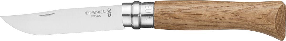 Нож Opinel Tradition Luxury №08, клинок 8,5 см, рукоять дуб, цвет: светло-коричневыйa026124Нож Opinel №8, нержавеющая сталь, рукоять - дубИдеальный карманный нож для пикника, барбекю, походов, охоты и рыбалки.Характеристики ножа:Материал лезвия: сталь Sandvik 12C27Материал рукояти: дубТип ножевого замка: ViroblockПриспособление для открытия клинка: насечка на лезвииДлина лезвия, см: 8,5Длина ножа, см: 19Ширина лезвия, см: 1,73Длина в сложенном положении, см: 11Вес, гр: 48Вес ножа с упаковкой, гр: 55Viroblock - оригинальное запорное устройство, представляющее собой кольцо с прорезью, которое, будучи повернуто относительно оси ножа, упирается в пятку клинка и не дает ножу самопроизвольно складываться при работе или раскладываться в кармане. Конструкция эта защищена патентом и устанавливается на ножи Opinel с 1955 года, начиная с модели n° 6.Французская фирма Opinel - производитель ножей с 1890 года. Удачная конструкция ножей обеспечила фирме не только длительное существование, но и всемирную славу. Ножи Opinel являются символом Франции. Классический нож этого типа - рукоять из дерева, металлическая втулка, ось, клинок и поворотное кольцо. Такая простота наряду с малой ценой и отличным качеством - вот рецепт успеха этих ножей. Наиболее распространены ножи с поворотным кольцом, которое фиксирует клинок в двух положениях.