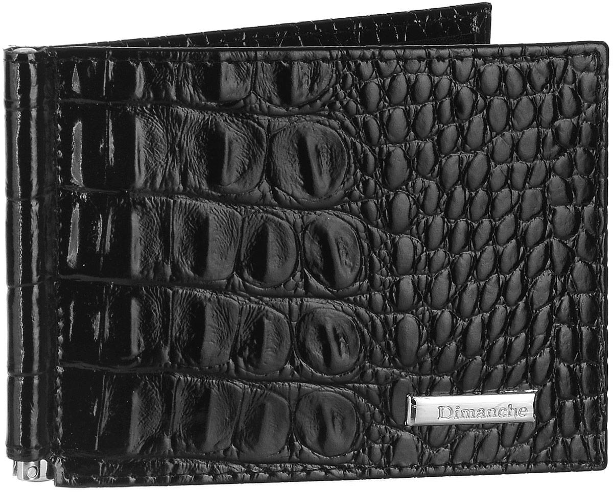 Зажим для денег Dimanche Loricata, цвет: черный. 385/1INT-06501Зажим для денег Dimanche Loricata выполнен из натуральной блестящей кожи черного цвета с тиснением под рептилию и декорирован металлическим элементом с логотипом Dimanche. Внутри находятся фиксирующаяся в открытом положении металлическая скоба для купюр и восемь кармашков для кредитных карт или визиток, из которых два - потайные. Такой зажим станет отличным подарком для человека, ценящего качественные и стильные вещи.Зажим упакован в фирменную подарочную коробку.