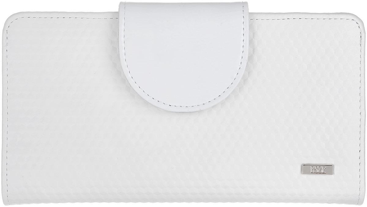 Кошелек женский Esse Мона, цвет: белый, серый. GMNA00-00KN00-D8303O-K100BM8434-58AEБольшой кошелек-купюрник, закрывающийся на хлястик. Внутри 4 отделения для купюр, 2 открытых кармана, 10 прорезных карманов для кредитных карт, отделение для мелочи, закрывающееся на молнию, пластиковое окно