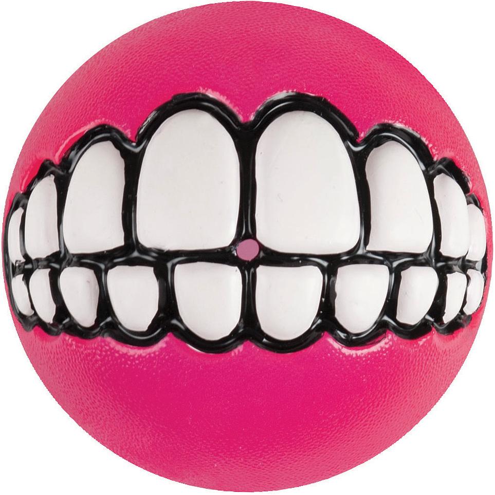 Игрушка для собак Rogz Grinz. Зубы, с отверстием для лакомства, цвет: розовый, диаметр 6,4 см0120710Легендарные мячи Grinz поднимут настроение каждому!Игрушка со смещённым центром тяжести устроена так, что собака всегда будет поднимать ее вверх зубами.Есть отверстие для лакомства.Мяч отлично подпрыгивает при играх.Изготовлено из особого термоэла-стопласта SEBS, обеспечивающего великолепную плавучесть в воде.Материал изделия: каучук. Термопластичная резина (TPR)
