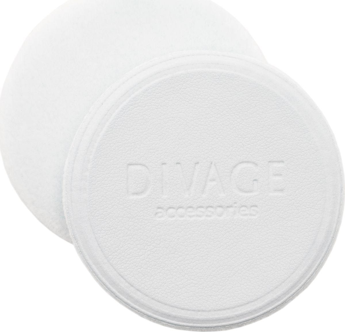 Divage Accessories - Спонж для пудры круглый, белый d60 мм2101-WX-01Ультра мягкий флоковый спонж для нанесения и смешивания румян, а также для компактной или рассыпчатой пудры изготовлен из высококачественного микроволокна. Превращает процесс нанесения макияжа в удовольствие. Стильный дизайн и противоскользящая лицевая поверхность из искусственной кожи для наибольшего удобства в использовании. Имеет стандартный размер, подходящий для большинства пудрениц. СОВЕТ ОТ DIVAGE: Содержи флоковый спонж в чистоте. После применения тщательно промой теплой водой с мылом, бережно отожми, распрями и просуши для дальнейшего применения.