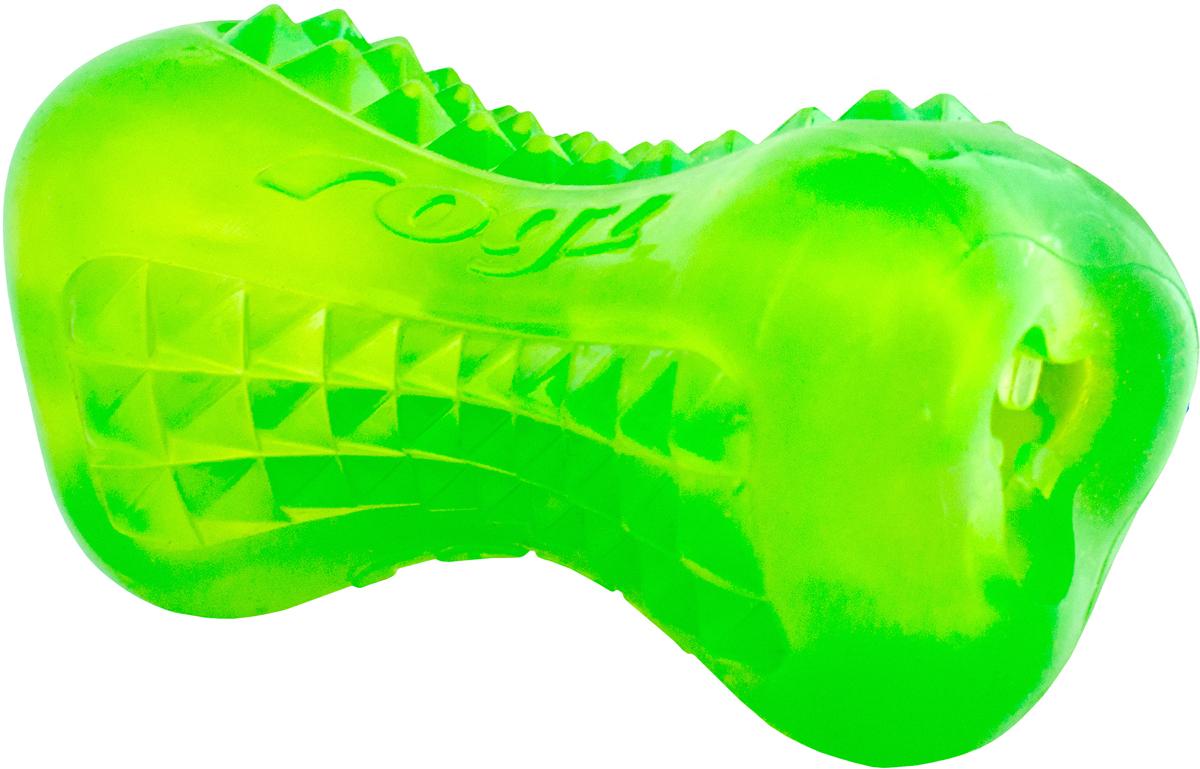 Игрушка для собак Rogz Yumz. Косточка, цвет: лайм, длина 11,5 см0120710Игрушка с массажными насечками.Внутри отверстие для угощения.Идеальна для жевания и разгрызания.Материал не токсичен. 85% натуральная резина, 15% искусственный каучук.
