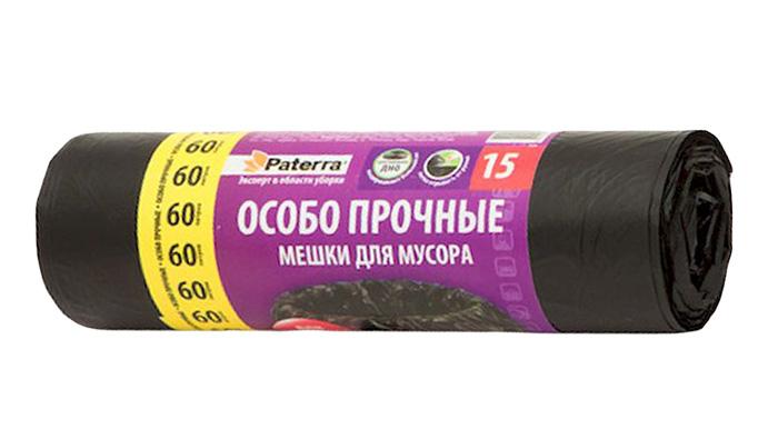 Мешки для мусора Paterra Особо прочные, 60 л, 15 шт10503Мешки Paterra Особо прочные, выполненные извысокопрочного и эластичного полиэтилена, обеспечатчистоту и гигиену в квартире. Изделия обладают повышенной толщиной, поэтому они не рвутся при нагрузке и при контакте с острыми краями мусора. А крестовидное дно позволяет мешкам выдерживать большой вес, перераспределяя нагрузку равномерно. Они удобны для сбора иутилизации мусора, занимают мало места, практичны в использовании. Благодаря удобным размерам, мешки легко вкладываются в ведро.Количество: 15 шт.Размер мешка: 60 х 80 см.