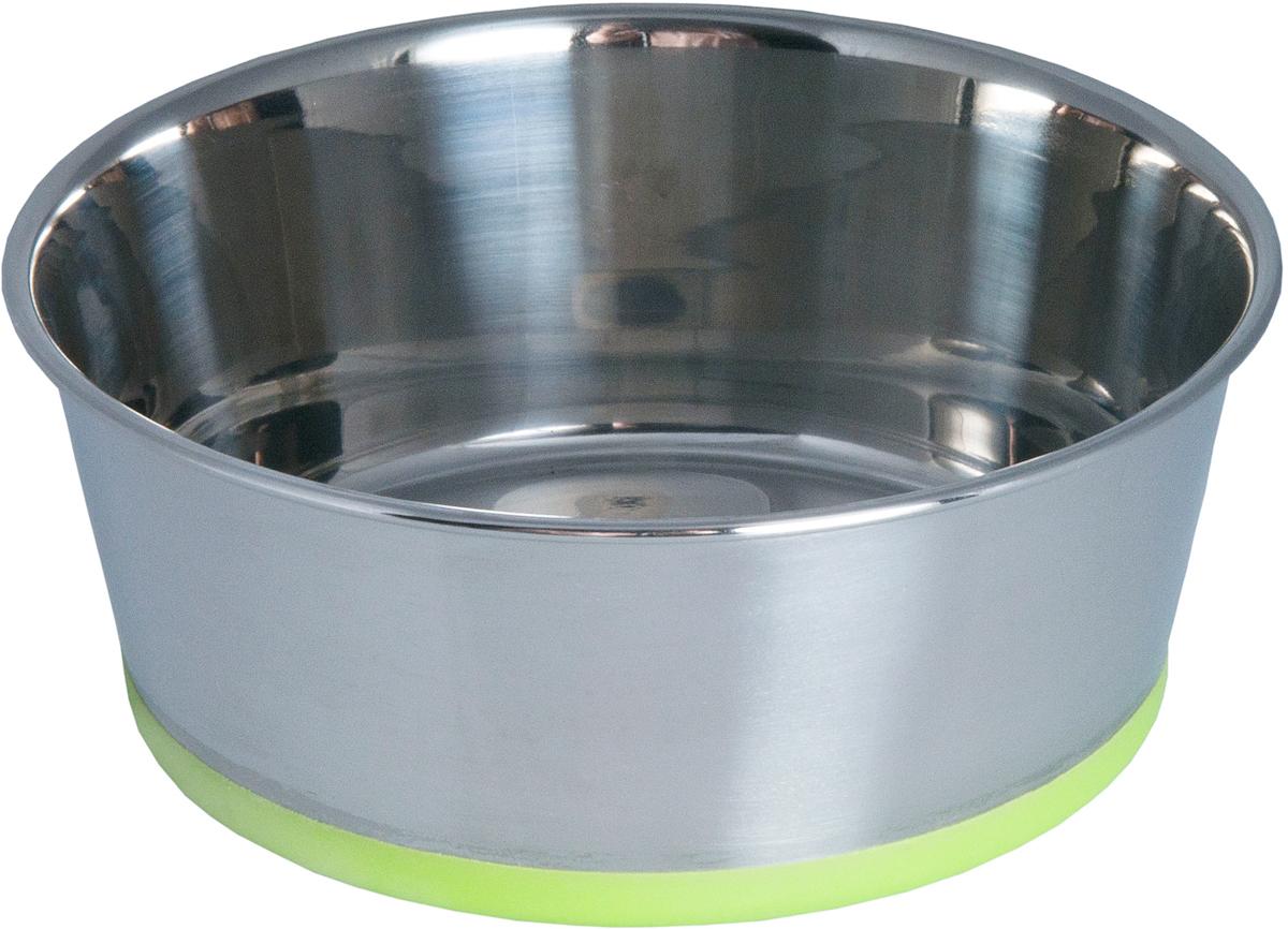 Миска для собак Rogz Slurp, цвет: зеленый, с противоскользащим дном, 1,7 л0120710Миска из нержавеющей стали с противоскользящим дном, покрытым цветным силиконом.Миску легко мыть, 100% безопасность.Материал изделия нетоксичен и полностью отвечает всем гигиеническим требованиям.Ударопрочный материал.Защита от коррозии и воздействия УФ-лучей.Натуральный нетоксичный силикон в основании, позволяющий избежать скольжения по полу.Возможна мойка в посудомоечной машине. Нержавеющая сталь, силикон