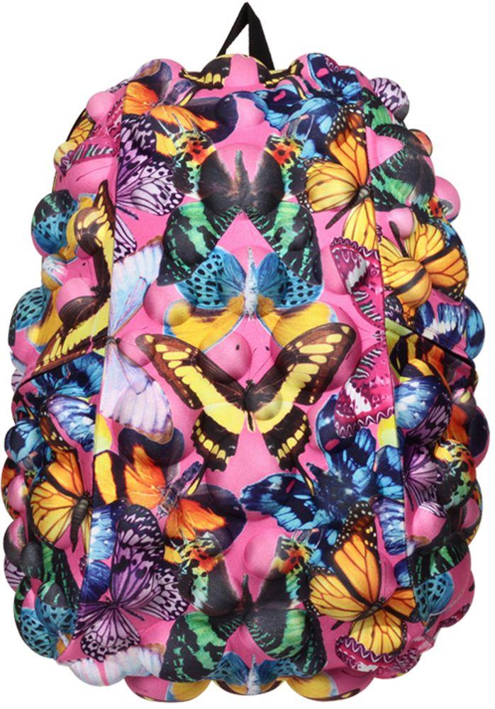 Рюкзак городской MadPax Bubble Full. Butterfly, 32 л2138 blueMadPax Bubble Full - это рюкзак в стиле фанк, которые своим неповторимым дизайном бросают вызов монотонности и скуке. Эти уникальные рюкзаки помогают детям всех возрастов самовыражаться, а их внутренняя структура с отделениями, карманами и застежками-молниями делает их невероятно практичными.Городской рюкзак MadPax Bubble Full - это стильный и практичный аксессуар, который станет незаменимым в ритме большого города.Рюкзак имеет одно основное отделение на застежке-молнии с двумя бегунками. Бегунки застежки дополнены металлическими держателями.Внутри отделения находится мягкий карман для ноутбука размером до 15.6 дюймов, закрывающийся хлястиком на липучке. Также внутри находится небольшой карман на молнии.Рюкзак имеет два прорезных боковых кармана, закрывающиеся на застежки-молнии. Сзади расположен прозрачный кармашек для визитки.Модель оснащена ручкой для переноски в руке, а также широкими плечевыми лямками, которые можно регулировать по длине. Специальная застежка-крепление соединяет и фиксирует лямки в районе груди, это позволяет равномерно распределить нагрузку на плечи и спину при максимальной загрузке рюкзака.Конструкция спинки дополнена эргономичными подушечками, противоскользящей сеточкой и системой вентиляции для предотвращения запотевания спины. Мягкая ортопедическая спинка создает дополнительный комфорт вашей спине и делает ношение рюкзака более удобным.