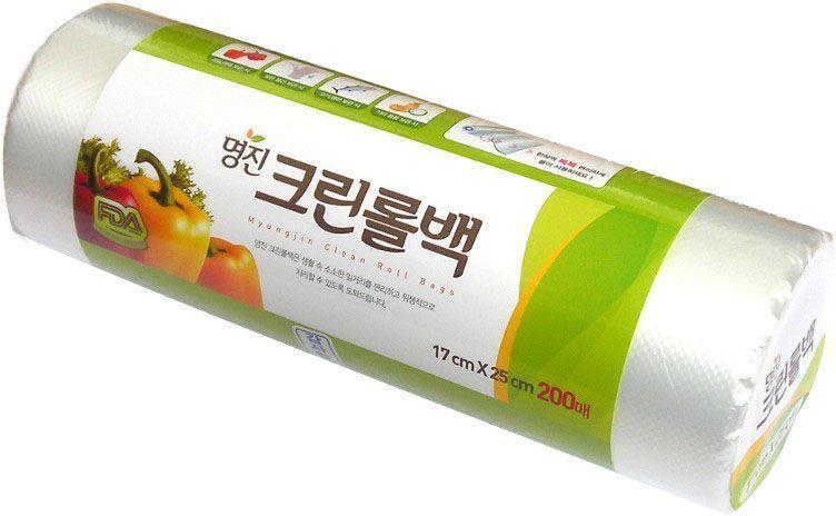 """Пакеты для хранения продуктов Myungjin """"Bags Roll Type"""", полиэтиленовые, пищевые, в рулоне 25 x 35 см"""