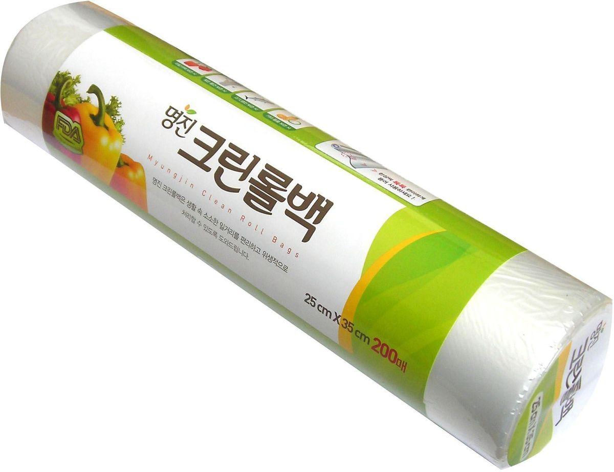 """Пакеты для хранения продуктов Myungjin """"Bags Roll Type"""", полиэтиленовые, пищевые, в рулоне 17 x 25 см"""