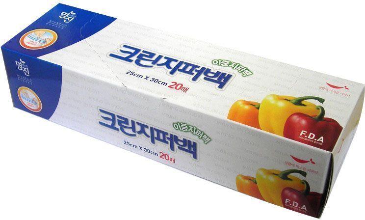 """Пакеты для хранения продуктов Myungjin """"Bags Double Zipper Type"""", полиэтиленовые, пищевые, с двойной застежкой-зиппером, 25 x 30 см"""