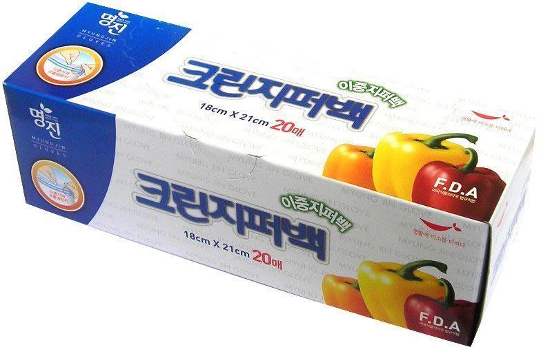 """Пакеты для хранения продуктов Myungjin """"Bags Double Zipper Type"""", полиэтиленовые, пищевые, с двойной застежкой-зиппером, 18 x 21 см"""