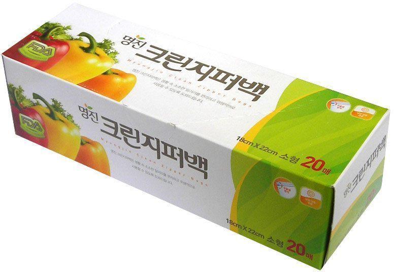 """Пакеты для хранения продуктов Myungjin """"Bags Zipper Type"""", полиэтиленовые, пищевые, с застежкой-зиппером, 25 x 30 см"""
