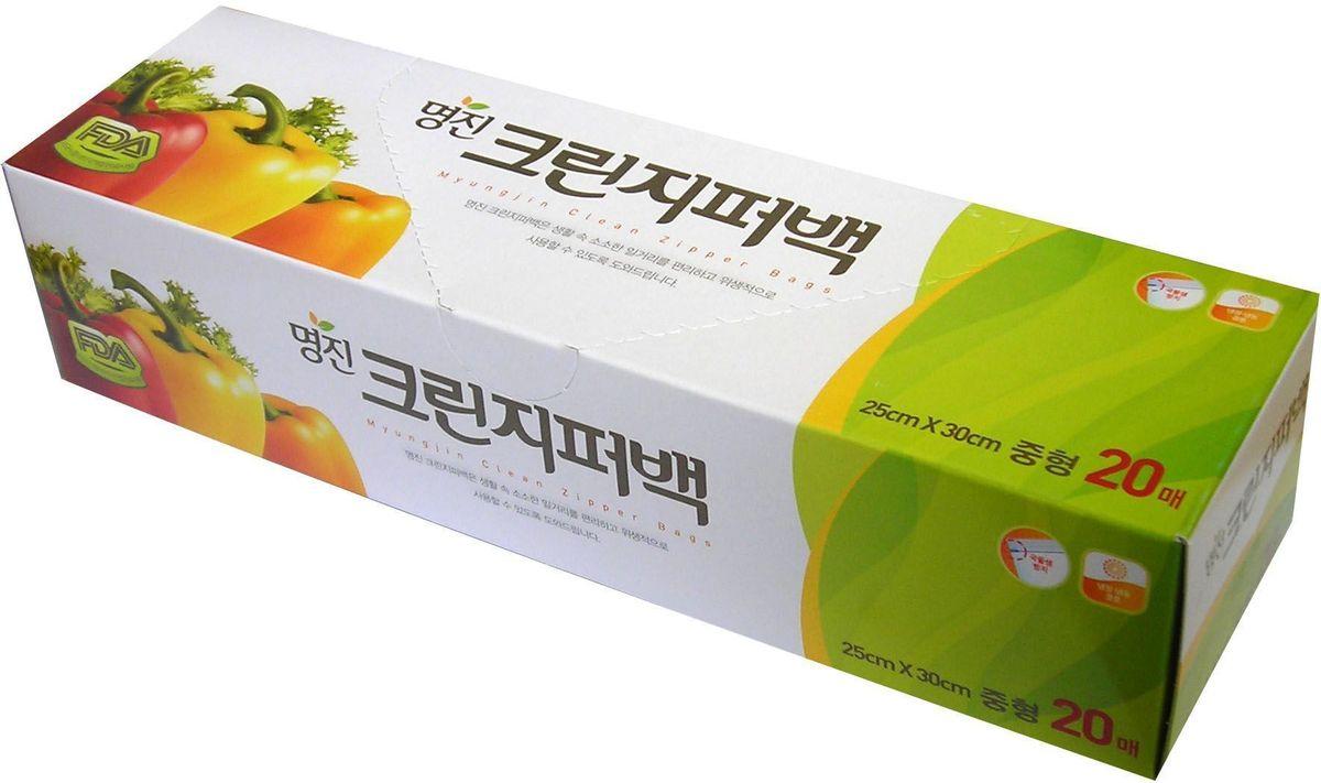 """Пакет для хранения продуктов Myungjin """"Bags Zipper Type"""", полиэтиленовые, пищевые, с застежкой-зиппером, 18 x 22 см"""