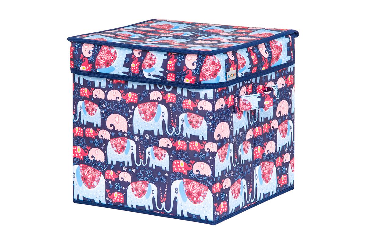 Кофр для хранения вещей EL Casa Слоники, складной, 28 х 28 х 28 смUP210DFКофр для хранения представляет собой закрывающуюся крышкой коробку жесткой конструкции, благодаря наличию внутри плотных листов картона. Специально предназначен для защиты Вашей одежды от воздействия негативных внешних факторов: влаги и сырости, моли, выгорания, грязи. Благодаря оригинальному дизайну кофр будет гармонично смотреться в любом интерьере.