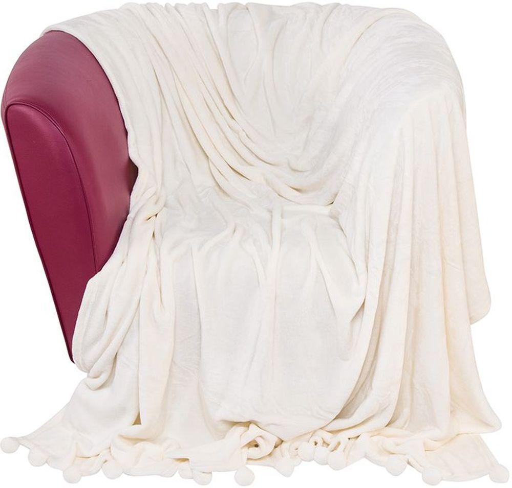 Плед EL Casa Помпоны, цвет: молочный коктейль, 180 х 200 см96515412Уютный, легкий и прочный плед в оригинальном дизайне послужит украшением декора вашей комнаты и согреет вас и ваших близких. Устойчив к истиранию и скатыванию, не мнется, не деформируется, сохранит первоначальный вид даже при активном использовании и многочисленных стирках. Такой плед идеален в качестве подарка на любой праздник.