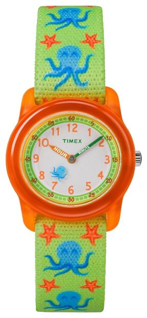 Наручные часы детские Timex Kids, цвет: оранжевый, зеленый. TW7C13400BM8434-58AEКорпус 28 мм из полупрозрачной пластмассы красного цвета, нейлоновый легкорегулируемый ремешок с принтом светло-зеленого цвета, аналоговый циферблат белого цвета, арабские цифры, акриловое стекло, водозащита 3 АТМ