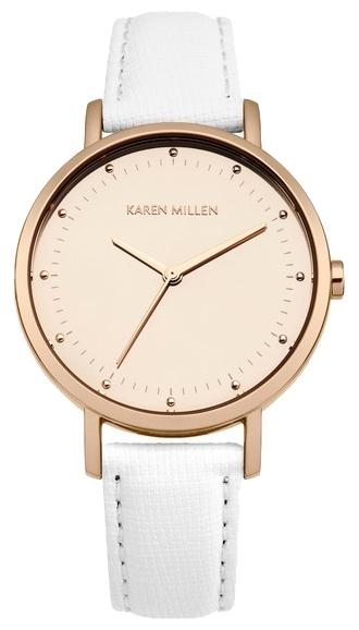 Наручные часы женские Karen Millen Watches, цвет: светло-розовый, белый. KM139WRGBM8434-58AEТрехстрелочный механизм Miyota 2035; IP Rose Gold- покрытие; Полированный корпус; Размер корпуса 32 мм; Минеральное стекло; Циферблат матовое зеркало цвета Rose Gold; Белый кожаный ремешок с сафьяновой обработкой; Водозащита 3 АТМ