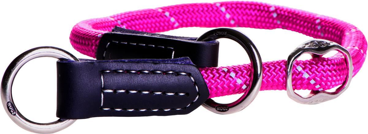 Полуудавка для собак Rogz Rope, цвет: розовый, ширина 0,9 см, обхват шеи 35-40 см. Размер L0120710Круглый ошейник-полуудавка Rogz Rope изготовлен из нейлона, металла и кожи.Ошейники-полуудавки, или как их сейчас модно называть ошейники-мартингейлы (мартингалы), практически незнакомы российскому покупателю. Возможно, именно эта неизвестность пугает и отталкивает многих собачников от приобретения такого ошейника.Полуудавки или мартингалы уже давно популярны в США и странах Европы, с недавних пор они завоевывают и рынок России. Их по праву можно считать вторыми по популярности после классических ошейников с застежкой-пряжкой.Термин мартингейл (или мартингал) произошел от французского слова martingale. Впервые он был применим к амуниции у лошадей. Это был специальный ремень в конской упряжи для удержания головы лошади в нужном положении. Он был нужен для того, чтобы не давать возможности лошади задирать голову высоко вверх.Лошадиный мартингал представляет собой приспособление из нескольких ремней и колец, где кольца как бы ездят (скользят) по ремням, принимая различные положения. Скорее всего, собачий ошейник-мартингал получил свое название именно от конной амуниции, потому что сделан по тому же принципу - несколько ремней соединены тремя кольцами.В отличии от классических ошейников с застежкой-пряжкой, полуудавки удобнее хотя бы потому, что их не нужно застегивать. Вы наконец-то избавитесь от этого ежедневного процесса, когда вам нужно тонкой палочкой от пряжки попасть в одну из дырочек на ошейнике, а потом протянуть ремешок еще через два полукольца. Полуудавка надевается через голову собаки, без всяких застежек и регулировок - одел и пошел на прогулку. Светоотражающая нить, вплетенная в нейлоновую ленту, обеспечивает видимость животного в темное время суток.Обхват шеи: 35-40 см.