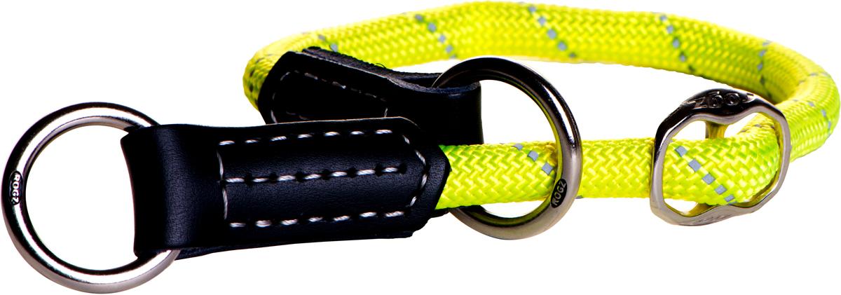 Полуудавка для собак Rogz Rope, цвет: желтый, ширина 1,2 см. Размер L. HBR12450120710Ошейник сделан из очень мягкого, но прочного нейлона, который не причинит неудобства собаке.Высококачественная тесьма особого плетения, удивительно мягкая на ощупь, не стирает и не путает шерсть даже длинношерстным собакам.Особо прочный закругленный нейлон препятствует разгрызанию и деформации изделий, а узкая поверхность ошейников-полуудавок помогает при дрессуре, мешая собаке тянуть поводок.Выполненные по заказу литые кольца выдерживают значительные физические нагрузки и имеют хромирование, нанесенное гальваническим способом, что позволяет избежать коррозии и потускнения изделия.Светоотражающая нить, вплетенная в нейлоновую ленту, обеспечивает видимость животного в темное время суток.Элементы изделия выполнены из 100% кожи. Полотно: нейлон. Манжета: 100% натуральная кожа. Пряжка: цинковое литье под давлением
