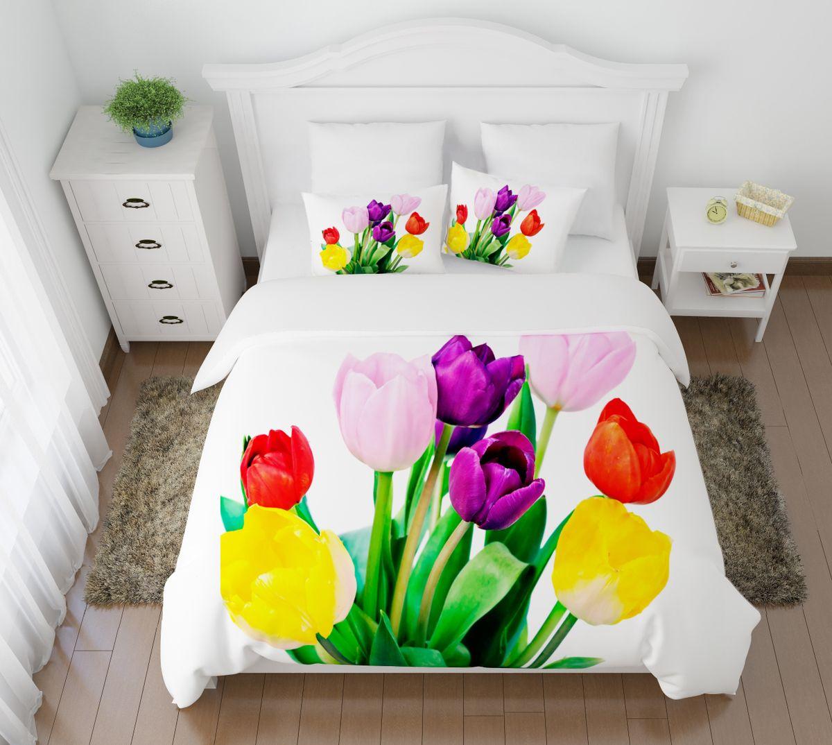 Комплект белья Сирень Весенние цветы, 2-спальный, наволочки 50х7010503Комплект постельного белья Сирень 2-х спальный выполнен из прочной и мягкой ткани. Четкий и стильный рисунок в сочетании с насыщенными красками делают комплект постельного белья неповторимой изюминкой любого интерьера. Постельное белье идеально подойдет для подарка. Идеальное соотношение смешенной ткани и гипоаллергенных красок это гарантия здорового, спокойного сна. Ткань хорошо впитывает влагу, надолго сохраняет яркость красок. Цвет простыни, пододеяльника, наволочки в комплектации может немного отличаться от представленного на фото.В комплект входят: простыня - 200х220см; пододельяник 175х210 см; наволочка - 50х70х2шт. Постельное белье легко стирать при 30-40 градусах, гладить при 150 градусах, не отбеливать.Рекомендуется перед первым изпользованием постирать.