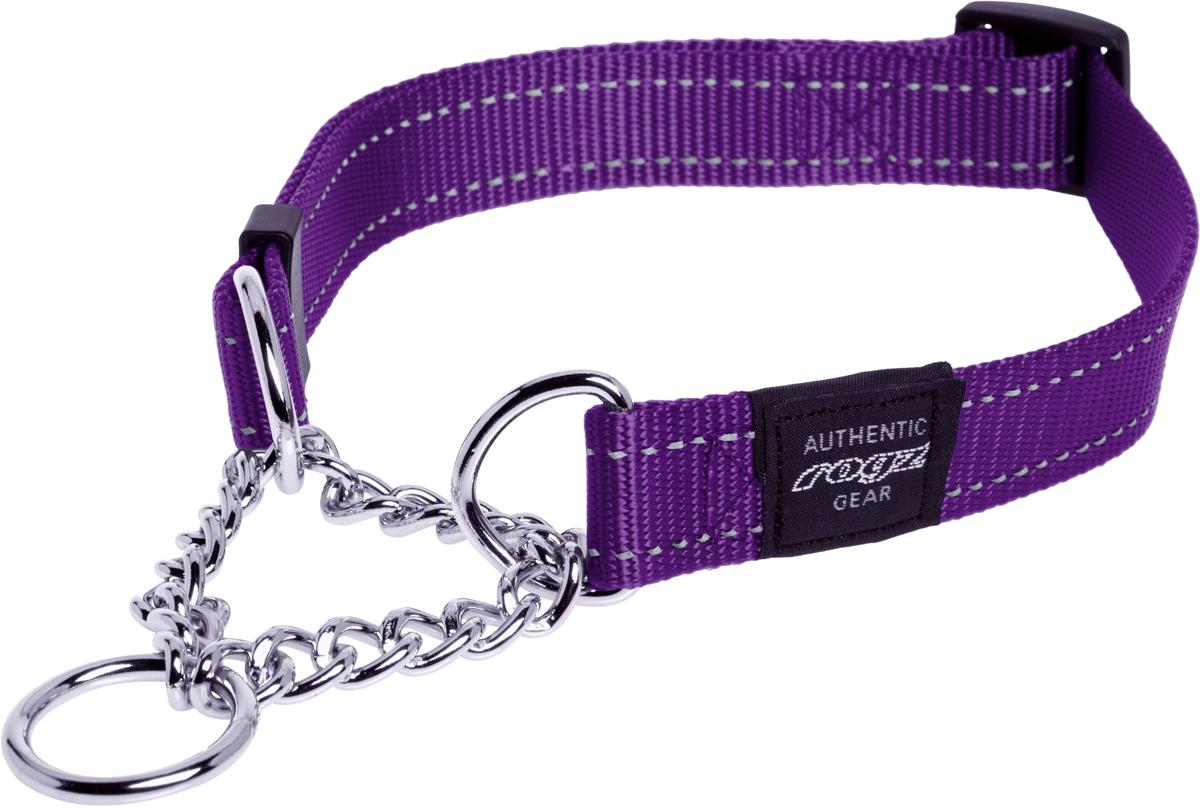 Полуудавка для собак Rogz Utility , цвет: фиолетовый, ширина 2,5 см. Размер XL0120710Видимость ночью. Светоотражающая нить, вплетенная в нейлоновую ленту - для обеспечения лучшей видимости собаки в темное время суток.Специальная конструкция пряжки Rog Loc - очень крепкая (система Fort Knox). Замок может быть расстегнут только рукой человека.Технология распределения нагрузки позволяет снизить нагрузку на пряжки, изготовленные из титанового пластика, с помощью правильного и разумного расположения грузовых колец. Специальная округлая форма конструкции позволяет ошейнику комфортно облегать шею собаки. Полотно:нейлоновая тесьма, светоотражающая нить.Пряжки: ацетиловый пластик. Кольца: цинковое литье.