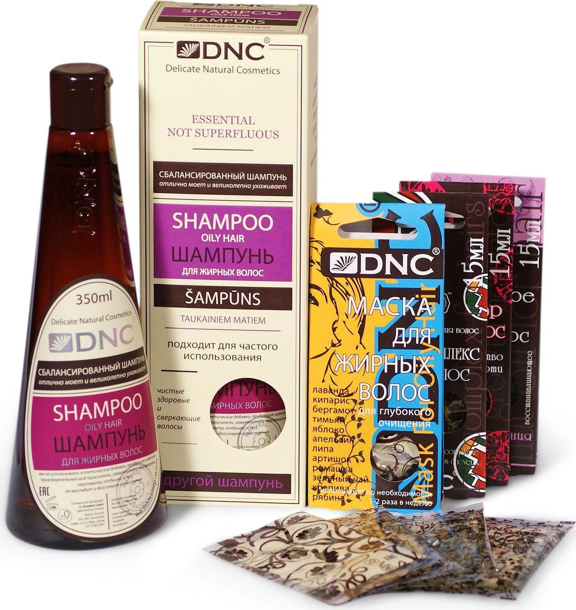 DNC Набор: Шампунь для жирных волос, 350 мл, маска для жирных волос, 3х15 мл, ореховое масло для волос против сечения, 15 мл, биокомплекс для волос против выпадения, 15 мл, активатор для волос против перхоти, 15 млGESS-131Активатор для волос против перхоти: Активатор содержит репейное масло, способствующее росту волос, а также касторовое масло, оказывающее смягчающее действие на кожу головы, и укрепляющее корни волос. Также масло содержит витамин А, который также выравнивает структуру волос, делая их послушными и сильными, и устраняет сухость. Витамин В5 уменьшает риск выпадения волос и укрепляет корни. Защищает волосы и насыщает их необходимыми витаминами, восстанавливает структуру волос, избавляет их от перхоти, способствуя росту здоровых и сильных волос. Биокомплекс для волос против выпадения: Эффективное биоактивное средство против выпадения волос. Содержит необходимые для волос экстракты лекарственных растений, d-pantenol и витамины А, Е и F, которые обеспечивают кровоснабжение волосяных луковиц и стимулируют рост волос. Биоактивный комплекс обладает сильным регенерирующим эффектом, насыщает волосы и кожу головы влагой и ценными питательными веществами, делая волосы более мягкими и послушными. Ореховое масло для волос против сечения: Состав быстро впитывается в волосы, одновременно восстанавливая и укрепляя их структуру. Ореховое Масло создает тонкую оболочку, позволяющую волосам сохранить влагу и обеспечивающую защиту, и питание волос по всей длине. При регулярном применении, Ореховое Масло эффективно борется с проблемой секущихся концов, укрепляя структуру волос, придавая им здоровый вид и делая их более мягкими и послушными. МАСКА для жирных волос: Очищает волосы и кожу головы. Значительно снижает активность сальных желез. Эффективность маски обеспечивает сбалансированная система из эфирных масел, растительных экстрактов и абсорбирующей глиняной основы. Комплекс разработан для максимально долгого контроля над избыточной жирностью волос. Шампунь для Жирных Во