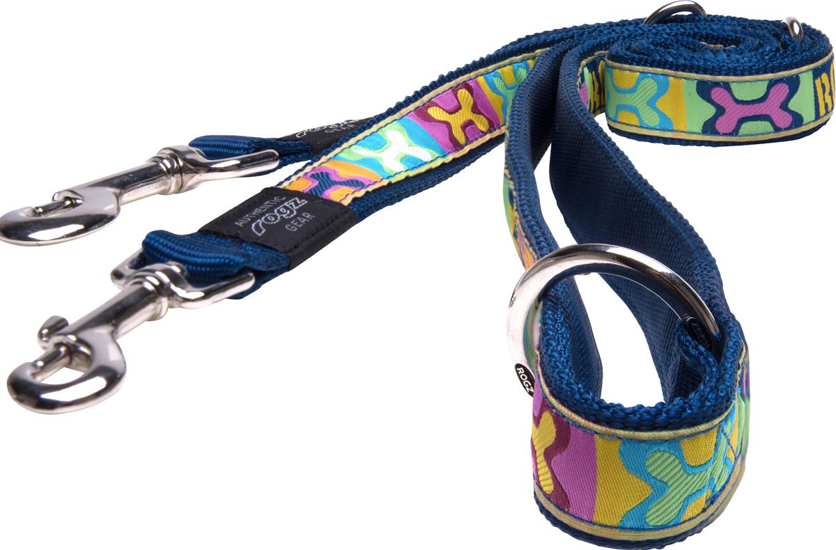Поводок перестежка для собак Rogz Fancy Dress, ширина 1,6 см. Размер M. HLM12BW0120710Необычный дизайн. Широкая гамма потрясающе красивых орнаментов на прочной тесьме поверх нейлоновой ленты украсит Вашего питомца.Очень крепкое и прочное изделие.Многофункциональный поводок-перестежку можно использовать как: поводок для двух собак; короткий, средний или удлиненный поводок (1м, 1.3м, 1.6м); поводок через плечо; временную привязь.Выполненные по заказу литые кольца выдерживают значительные физические нагрузки и имеют хромирование, нанесенное гальваническим способом, что позволяет избежать коррозии и потускнения изделия. Полотно: нейлоновая тесьма. Пряжки: ацетиловый пластик. Кольца: цинковое литье.