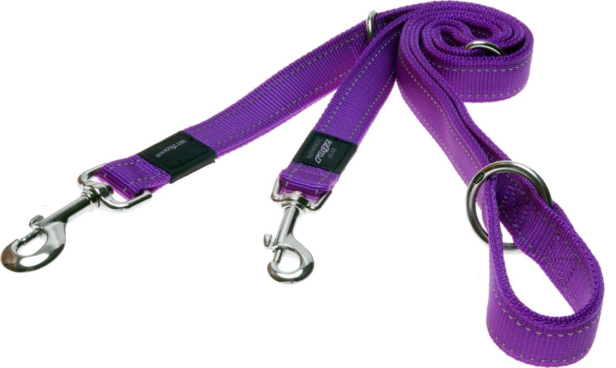 Поводок перестежка для собак Rogz Utility, цвет: фиолетовый, ширина 1,1 см. Размер S0120710Видимость ночью. Светоотражающая нить, вплетенная в нейлоновую ленту - для обеспечения лучшей видимости собаки в темное время суток.Выполненные специально по заказу ROGZ литые кольца гальванически хромированы, что позволяет избежать коррозии и потускнения изделия.Многофункциональный поводок-перестежку можно использовать как: поводок для двух собак; короткий, средний или удлиненный поводок (1м, 1.3м, 1.6м); поводок через плечо; временную привязь. Полотно:нейлоновая тесьма, светоотражающая нить.Пряжки: ацетиловый пластик. Кольца: цинковое литье.