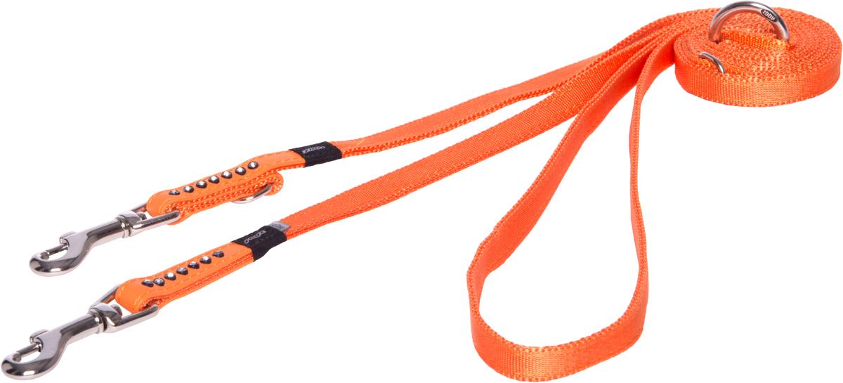Поводок перестежка для собак Rogz Luna, цвет: оранжевый, ширина 1,1 см. Размер XS0120710Прочность и гибкость.Авторский дизайн, яркие цвета, изысканные декоративные элементы.Многофункциональный поводок-перестежку можно использовать как: поводок для двух собак; короткий, средний или удлиненный поводок (1м, 1.3м, 1.6м); поводок через плечо; временную привязь.Материалы: 100% полиэстер, PU кожа (на основе полиуретана),металл, пластик, стразы. Полотно:100% полиэстер, PU кожа (на основе полиуретана), металл, пластик, стразы