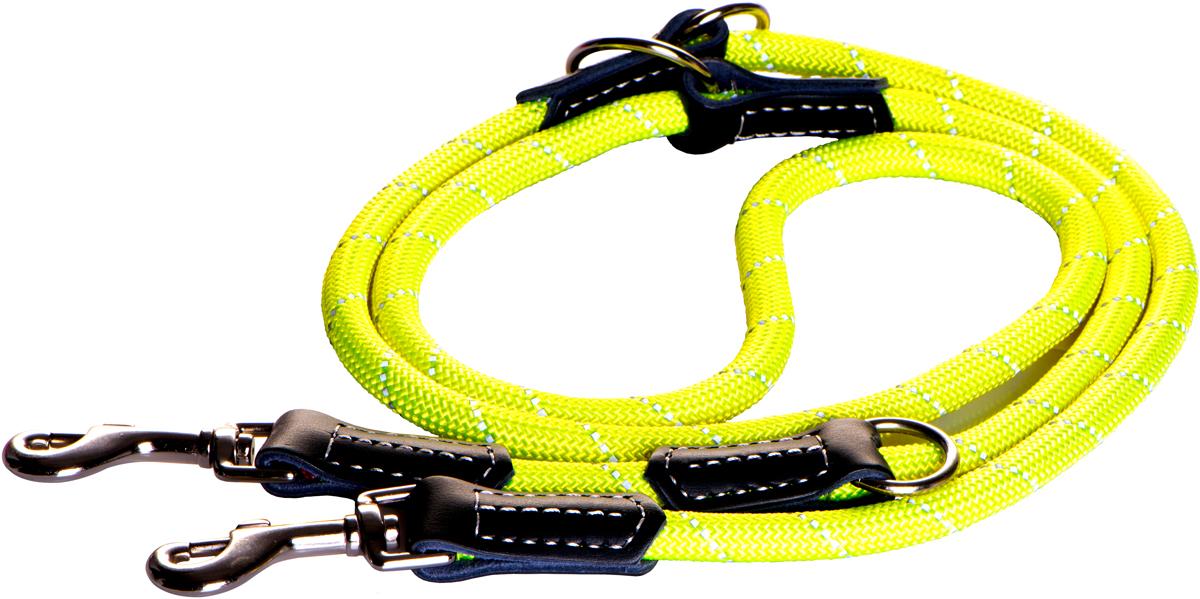 Поводок перестежка для собак Rogz Rope, цвет: желтый, ширина 1,2 см. Размер L0120710Изделие выполнено из очень мягкого, но прочного нейлона, который не причинит неудобства собаке.Высококачественная тесьма особого плетения, удивительно мягкая на ощупь, не стирает и не путает шерсть даже длинношерстным собакам.Особо прочный закругленный нейлон препятствует разгрызанию и деформации изделий.Выполненные по заказу литые кольца выдерживают значительные физические нагрузки и имеют хромирование, нанесенное гальваническим способом, что позволяет избежать коррозии и потускнения изделия.Светоотражающая нить, вплетенная в нейлоновую ленту, обеспечивает видимость животного в темное время суток.Многофункциональный поводок-перестежку можно использовать как: поводок для двух собак; короткий, средний или удлиненный поводок (1м, 1.3м, 1.6м); поводок через плечо; временную привязь.Элементы изделия выполнены из 100% кожи. Полотно: нейлон. Манжета: 100% натуральная кожа. Пряжка: цинковое литье под давлением