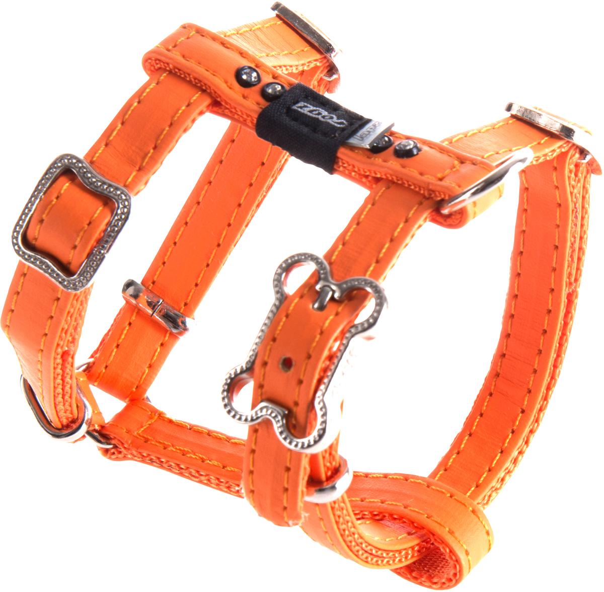 Шлейка для собак Rogz Luna, цвет: оранжевый, ширина 1,1 см. Размер XS0120710Нежнейшая мягкость и гибкость.Авторский дизайн, яркие цвета, изысканные декоративные элементы.Шлейка подчеркнет индивидуальность Вашей собаки.Материалы: 100% полиэстер, PU кожа (на основе полиуретана),металл, пластик, стразы. Полотно:100% полиэстер, PU кожа (на основе полиуретана), металл, пластик, стразы
