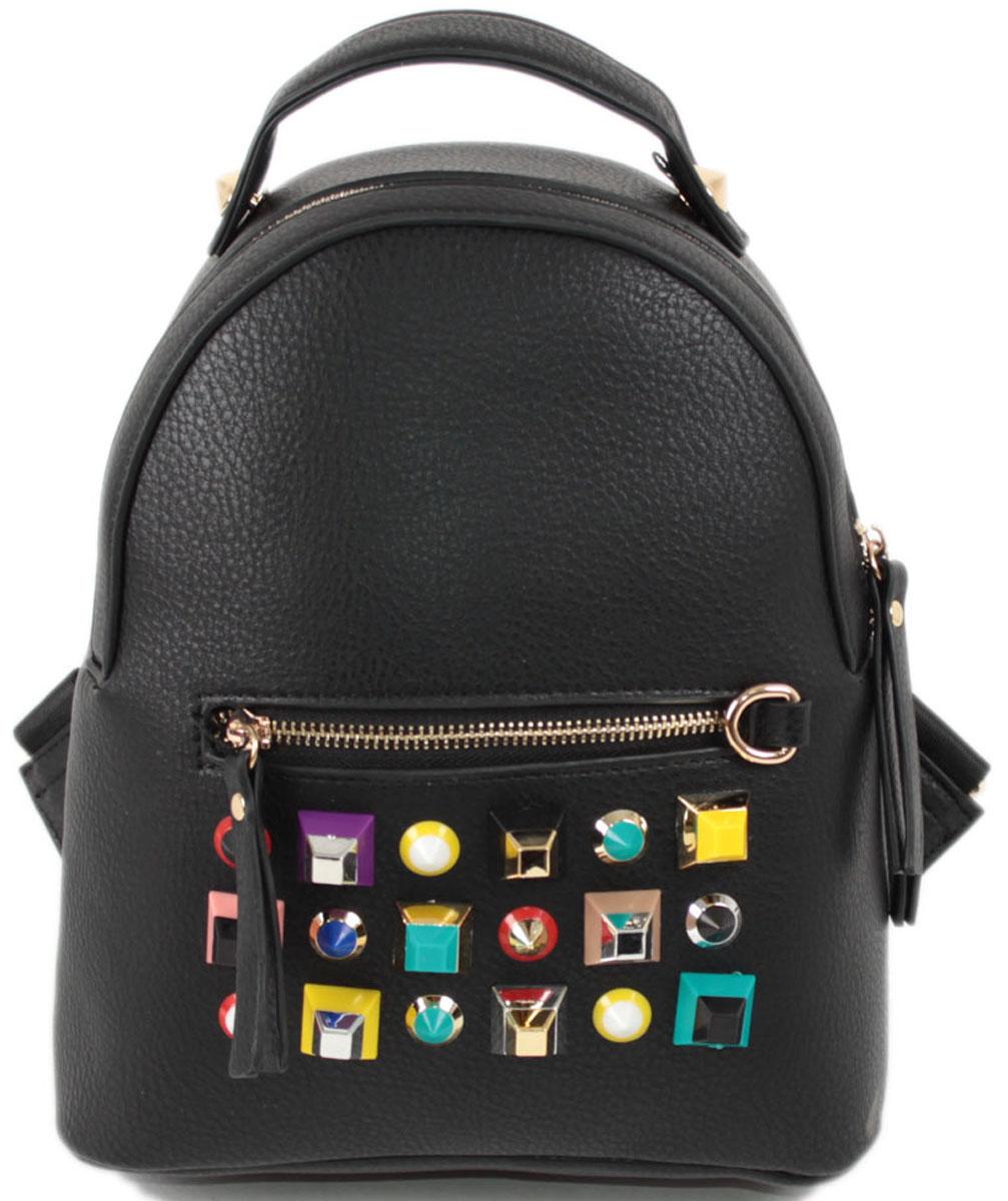 Рюкзак женский Flioraj, цвет: черный. 0633BP-001 BKЗакрывается на молнию. Внутри одно отделение, один карман на молнии, снаружи карман на молнии. Высота ручки 5 см.