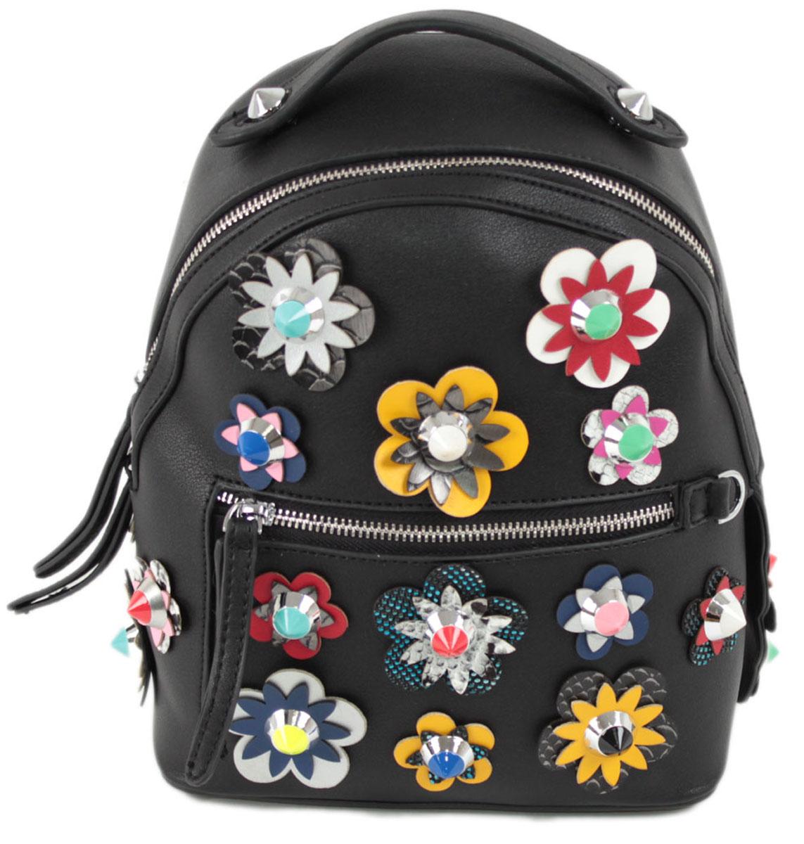 Рюкзак женский Flioraj, цвет: черный. 8157BP-001 BKЗакрывается на молнию. Внутри одно отделение, открытый карман, карман на молнии, снаружи карман на молнии. Высота ручки 5 см.
