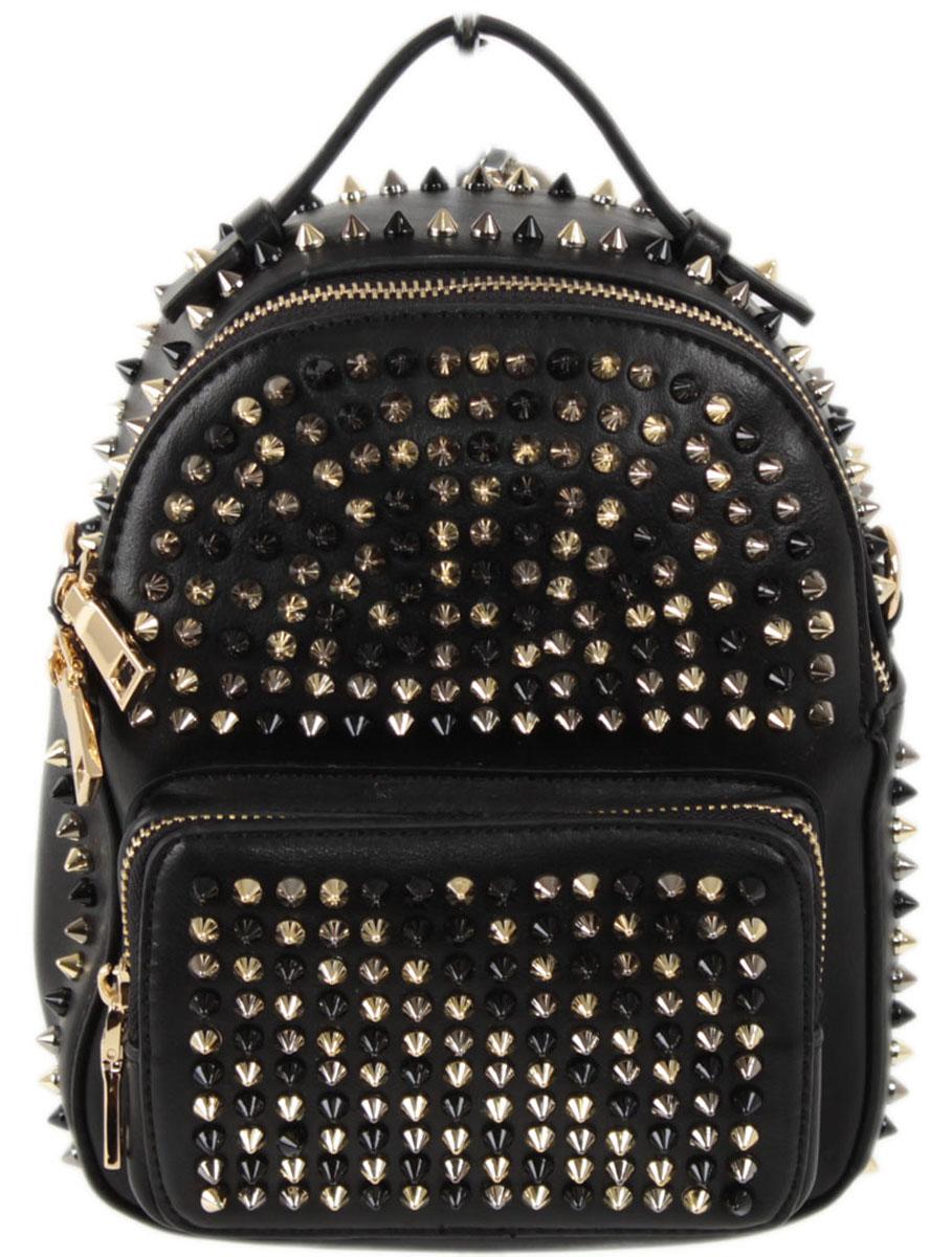 Рюкзак женский Flioraj, цвет: черный. 8860BP-001 BKЗакрывается на молнию. Внутри одно отделение, один открытый карман, карман на молнии, снаружи карман на моолнии. Высота ручки 4 см.