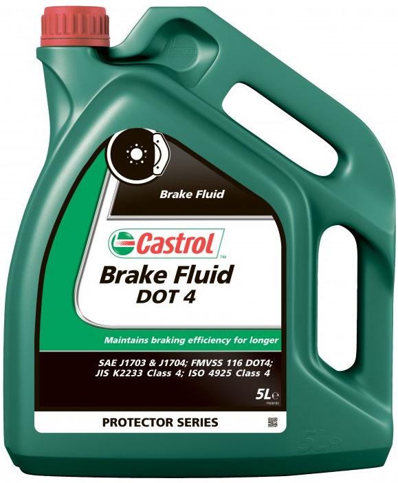 Тормозная жидкость Castrol Brake Fluid DOT4, 5 л2706 (ПО)ОписаниеCastrol Brake Fluid DOT4 - высококипящая тормозная жидкость, превышающая требования спецификаций SAEJ1703,SAE J1704, FMVSS 116 DOT 4 , ISO 4925 и Jis K 2233.Castrol Brake Fluid DOT4 предназначена для применения во всех тормозных системах, в особенности частоподвергающимся высоким нагрузкамПрименениеПродукт состоит из смеси полиалкиленгликолевых эфиров и борсодержащих сложных эфиров в сочетании свысокоэффективными присадками и ингибиторами, обеспечивающими превосходную защиту от коррозии иперпятствующими образованию паровых пробок при высокой температуре.Композиция жидкости разработана так, что температура кипения этой жидкости достигает гораздо более высокихзначений по сравнению с традиционными тормозными жидкостями на основе эфиров гликолей в течение периодаиспользования продукта.Castrol Brake Fluid DOT 4 полностью совместима с другими жидкостями соответствующими спецификациям FMVSS116 DOT 3, DOT 4 и DOT 5.1. Тем не менее, для того, чтобы сохранить исключительные эксплуатационныехарактеристики этого продукта, избегайте смешения с другими тормозными жидкостями.Все обычные тормозные жидкости разрушаются во время использования. Настоятельно рекомендуется менятьCastrol Brake Fluid DOT 4 в соответствии с предписаниями производителей техники. В случае отсутствияпредписаний, жидкость рекомендуется менять раз в 2 года.Условия примененияТормозная жидкость Castrol Brake Fluid DOT 4 не должна использоваться в тормозных системах, в которыхпредписаны жидкости на минеральной основе (например, некоторые системы Citroen, для которых подходитCastrol LHM, и Rolls Royce, где одобрен к применению продукт Castrol HSMO Plus).Как и со всеми тормозными жидкостями, содержащими гликолевые эфиры, будьте осторожны и избегайте проливаэтого продукта на окрашенную поверхность, т.к. это может привести к повреждению краски. В случае проливанемедленно промойте водой зону поражения. Не вытирать.СпецификацииJASO JIS K2233SAE J1703J17044