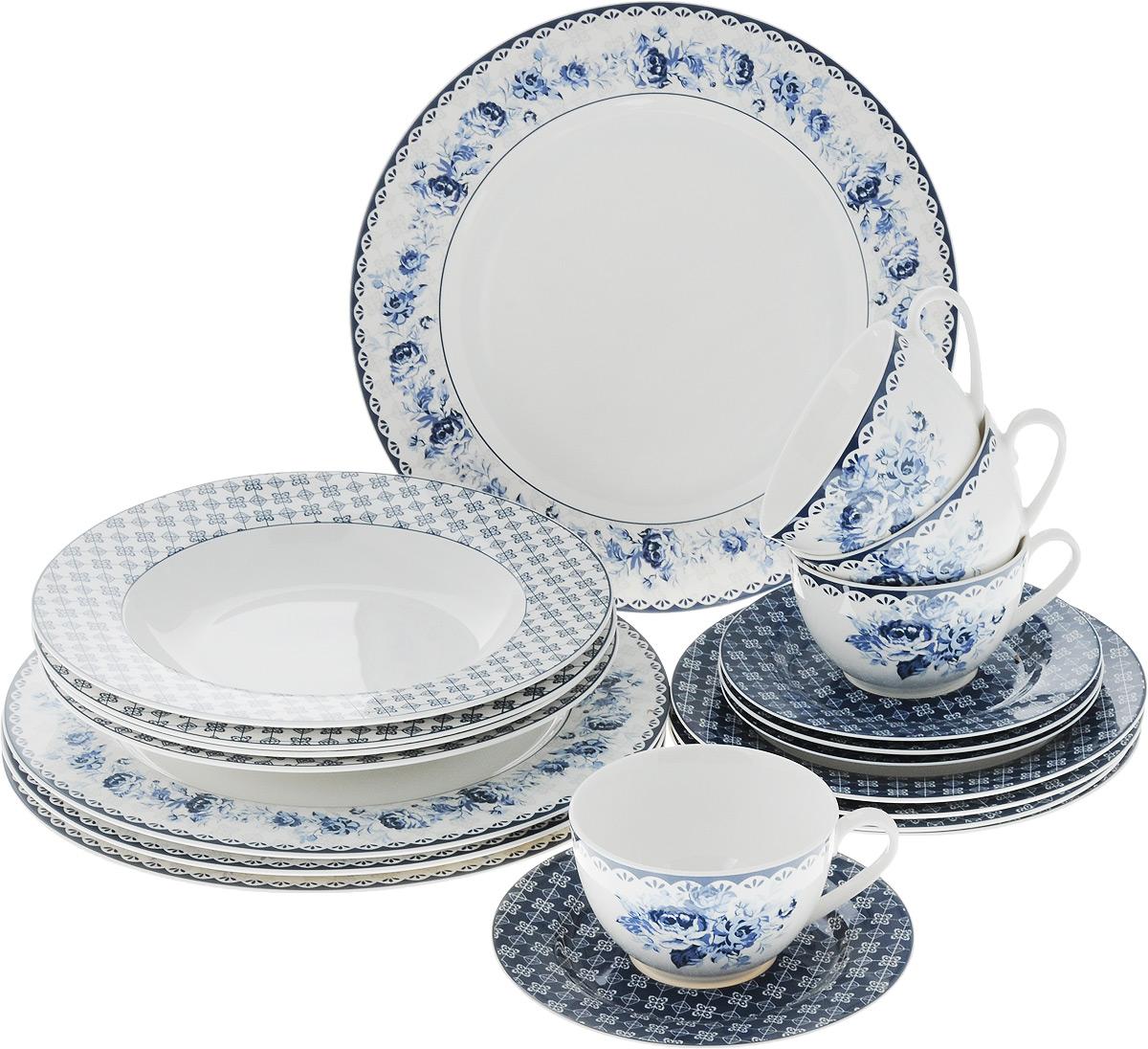 Набор столовой посуды Синие цветы, 20 предметов. 15-335115610Набор столовой посуды Синие цветы состоит из 4 обеденных тарелок, 4 суповых тарелок, 4 десертных тарелок, 4 блюдец и 4 чашек. Изделия выполнены из фарфора и дополнены изысканным цветочным рисунком в стиле гжель. Посуда отличается прочностью, гигиеничностью и долгим сроком службы, она устойчива к появлению царапин. Такой набор прекрасно подойдет как для повседневного использования, так и для праздников или особенных случаев. Такой набор столовой посуды - это не только яркий и полезный подарок для родных и близких, а также великолепное дизайнерское решение для вашей кухни или столовой. Можно использовать в микроволновой печи и мыть в посудомоечной машине. Диаметр суповой тарелки: 23 см. Высота суповой тарелки: 3 см.Диаметр обеденной тарелки: 27 см. Диаметр десертной тарелки: 19 см. Диаметр блюдца: 15,5 см. Объем чашки: 250 мл.Диаметр чашки (по верхнему краю): 9,5 см.Высота чашки: 6 см.