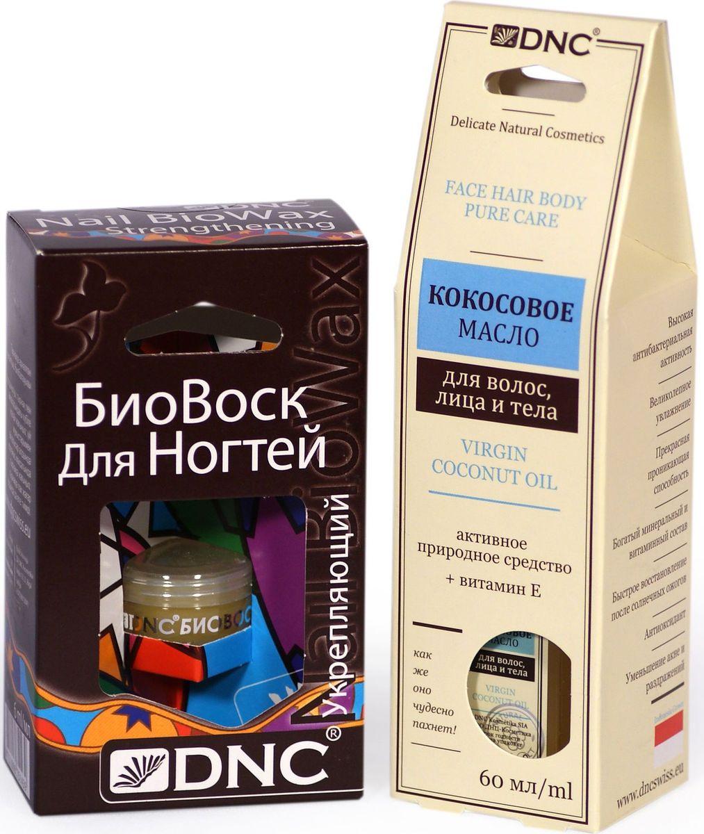 DNC Набор: Кокосовое масло, 60 мл, биовоск укрепляющий, 6 млFS-00103Масло кокосовое Нежное и ароматное масло для лица, тела и волос. Использовать кокосовое масло для лица можно, как дневной крем для сухой кожи или ночной восстанавливающий для возрастной кожи любого типа. Кокосовое масло значительно снижает потерю протеинов волос, ведущую к сечению и повреждению их структуры. Многие используют кокосовое масло в качестве деликатного средства для бритья, вместо пены или геля. Увлажняет и смягчает кожу рук и ног, способствует заживлению трещин. Подходит для всех видов массажа. Биовоск для ногтей укрепляющий Тщательно подобранная композиция комплексного действия из пчелиного воска и активных масел. Создает и поддерживает тонкую и естественную для кожи и ногтевой пластины защиту. Процесс укрепления и формирования здоровых ногтей и кутикул проходит значительно быстрее. Масла питают ногти, способствуют смягчению кутикул и заживлению ранок вокруг ногтей.