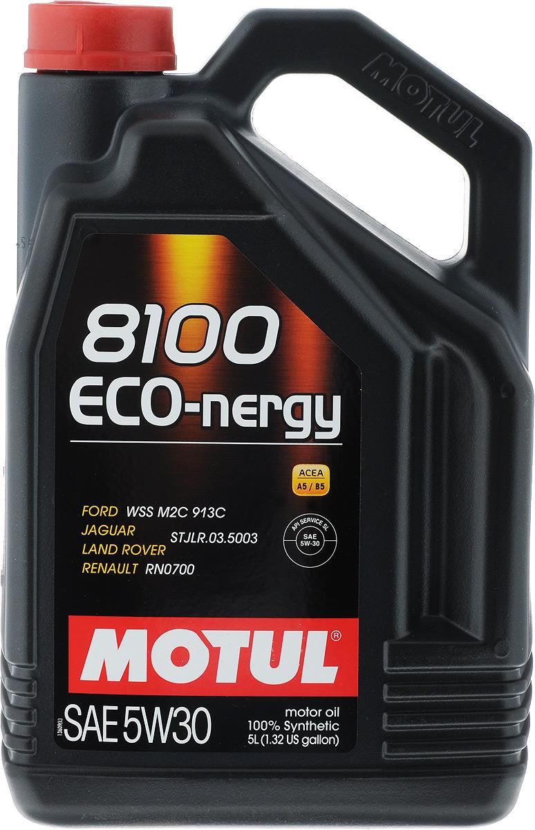 Масло моторное Motul 8100 Eco-nergy, синтетическое, 5W-30, 5 л6280LKМасло моторное Motul 8100 Eco-nergy - это 100% синтетическое энергосберегающее моторное масло для бензиновых и дизельных двигателей. Специально разработано для мощных современных бензиновых и дизельных двигателей автомобилей, в том числе с непосредственным впрыском, для которых предусмотрено использование масел с низкой высокотемпературной вязкостью в условиях высоких скоростей сдвига (HTHS). Предназначено для бензиновых и дизельных двигателей, созданных по новым технологиям, для которых предписаны масла Fuel Economy (ACEA A1/B1 и А5/В5). Совместимо с системами нейтрализации отработавших газов. Подходит для всех типов топлива: этилированный и неэтилированный бензин, этанол, сжиженный газ, дизельное топливо и биотопливо. ACEA Стандарты: ACEA A5/B5. API Стандарты: API SL/CF. Одобрения: FORD WSS M2C 913D; Jaguar / Land Rover STJLR.03.5003; Renault RN0700.