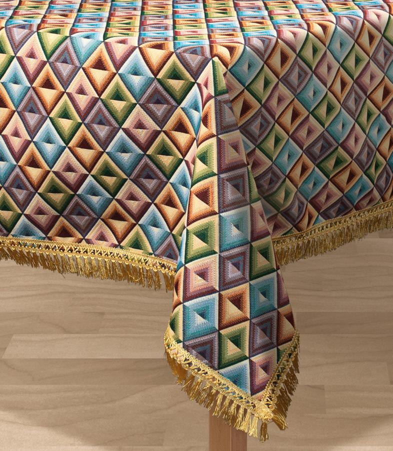 Скатерть Les Gobelins Kaleidoscope, прямоугольная, 150 х 190 см531-401Прямоугольная скатерть Les Gobelins Kaleidoscope с ярким геометрическим рисунком привлечет к себе внимание и органично впишется в интерьер комнаты. Изделие изготовлено из высококачественной ткани гобелен и оформлено бахромой и кисточками. Необычайная красота сочетается в этой скатерти с высокой прочностью и долговечностью, а свойство гобелена по-разному проявлять себя в зависимости от освещения помещения позволяет открывать все новые и новые детали, которые, как казалось, раньше скрывал гобелен.Красочная и приятная на ощупь скатерть сделает любое застолье торжественным, а интерьер - уютным и своеобразным.Расположение рисунка на скатерти соответствует фотографии.Состав материала:50% хлопок, 50% полиэстер.