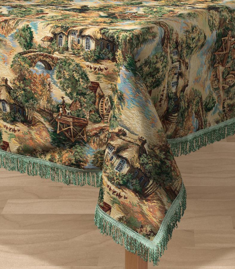 Скатерть Les Gobelins Provence, прямоугольная, 150 х 190 смVT-1520(SR)Прямоугольная скатерть Les Gobelins Provence с ярким рисунком привлечет к себе внимание и органично впишется в интерьер комнаты. Изделие изготовлено из высококачественной ткани гобелен и оформлено бахромой и кисточками. Необычайная красота сочетается в этой скатерти с высокой прочностью и долговечностью, а свойство гобелена по-разному проявлять себя в зависимости от освещения помещения позволяет открывать все новые и новые детали, которые, как казалось, раньше скрывал гобелен.Красочная и приятная на ощупь скатерть сделает любое застолье торжественным, а интерьер - уютным и своеобразным.Расположение рисунка на скатерти соответствует фотографии.Состав материала:45% хлопок, 55% полиэстер.